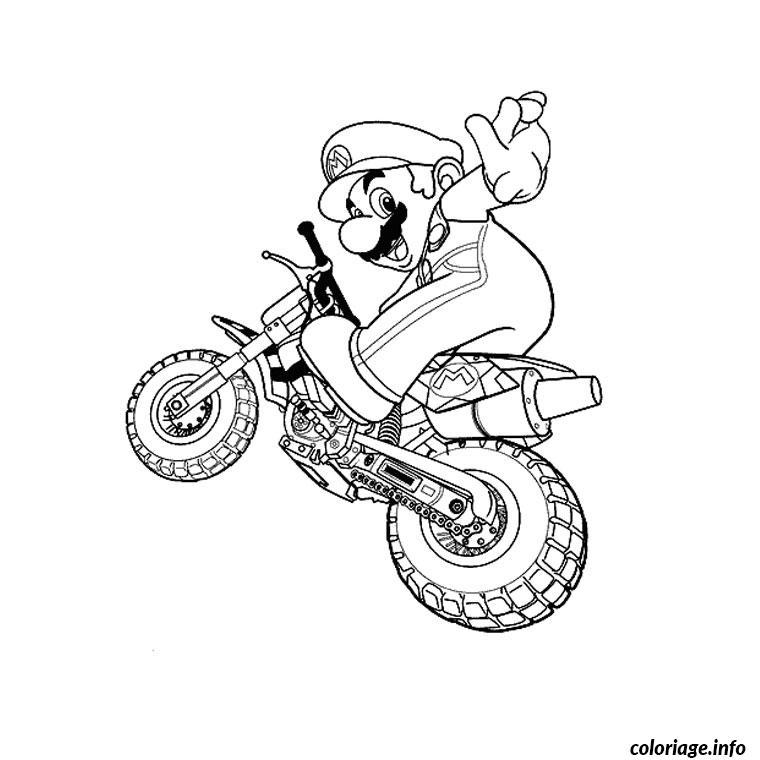 Coloriage Mario Moto Dessin