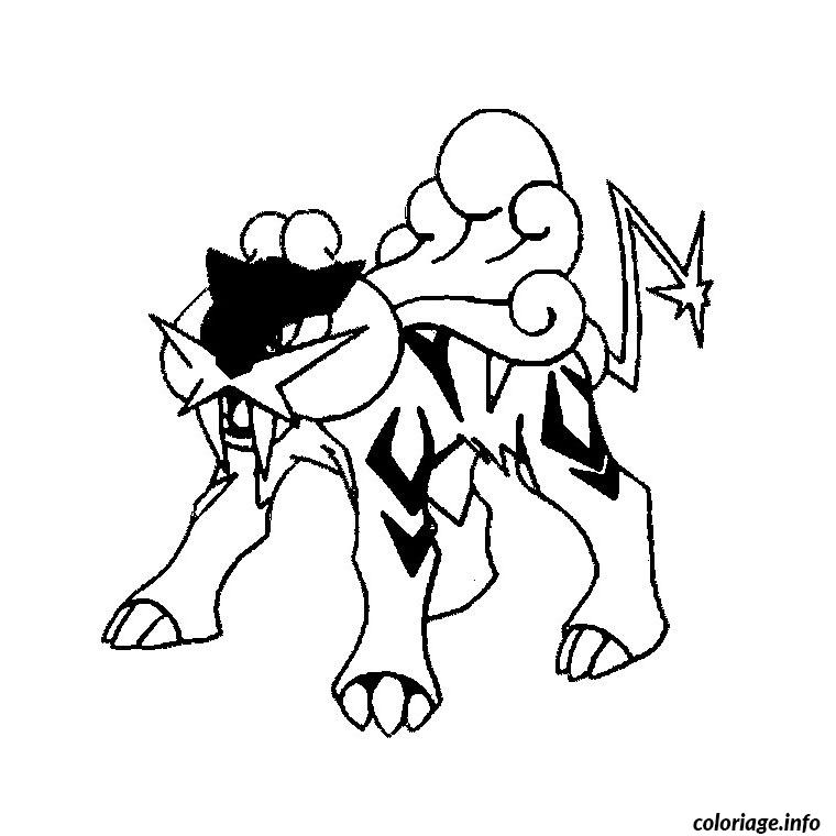 Dessin pokemon raikou Coloriage Gratuit à Imprimer