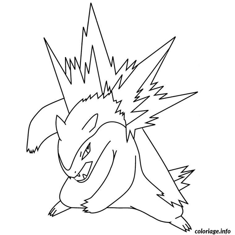 Dessin pokemon typhlosion Coloriage Gratuit à Imprimer