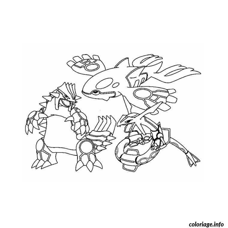 Dessin trois pokemons legendaires Coloriage Gratuit à Imprimer