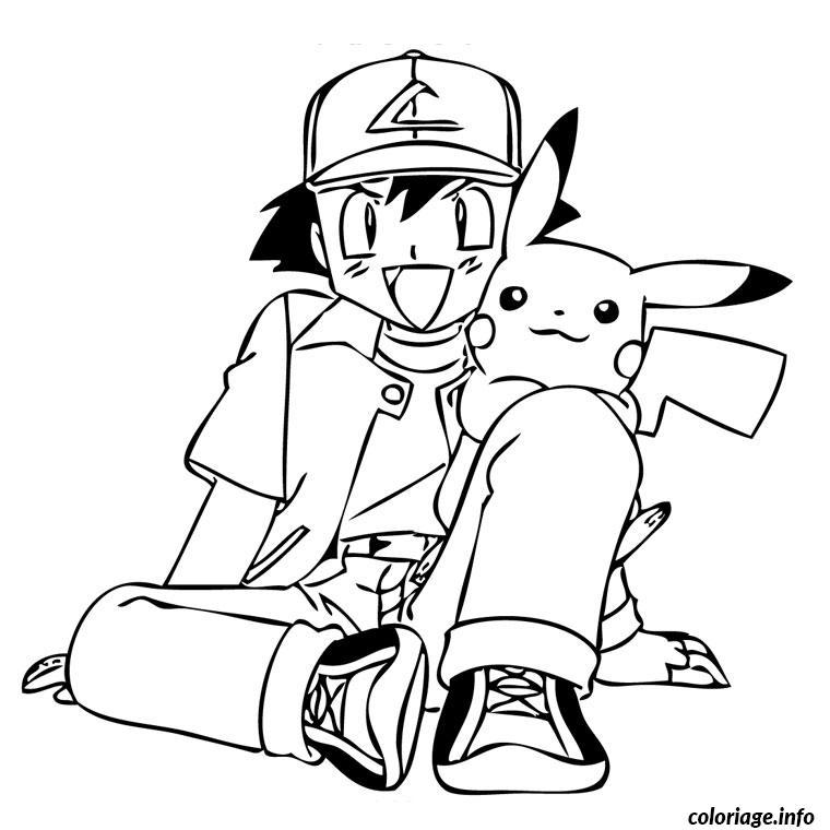 Coloriage Pokemon Sacha dessin
