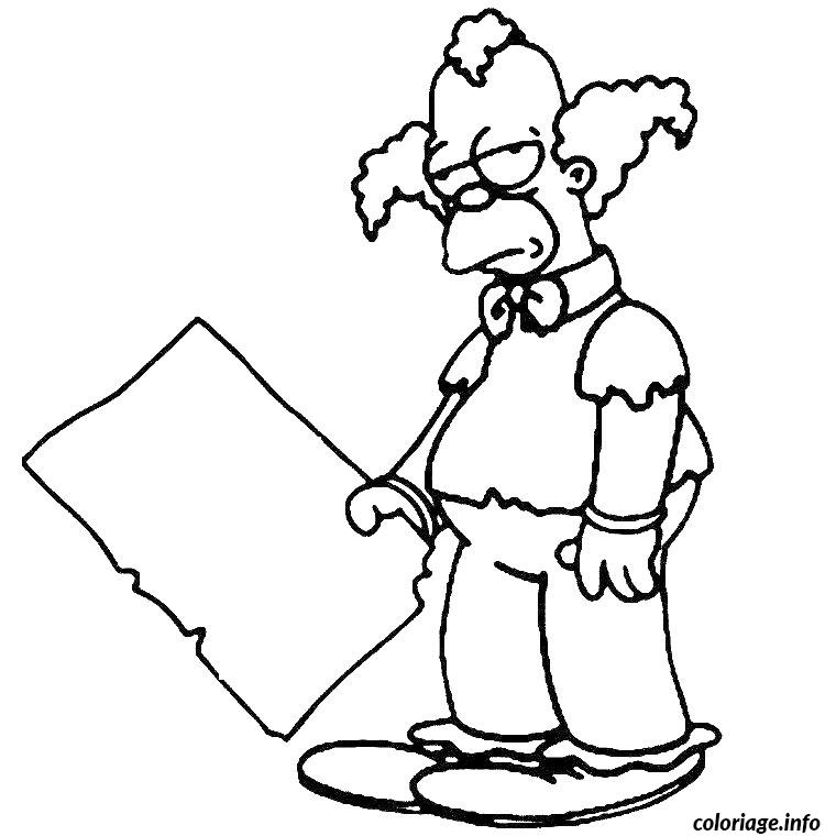 Coloriage Krusty Le Clown Simpson Dessin à Imprimer