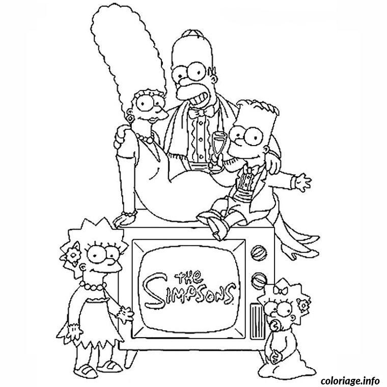 Coloriage Les Simpson En Famille Dessin Simpson A Imprimer