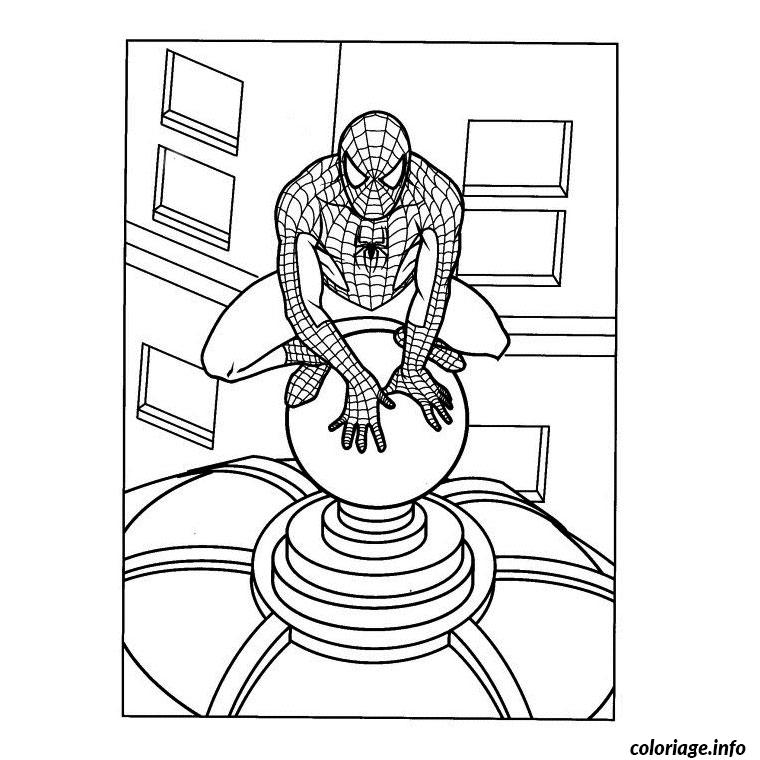 Coloriage spiderman sur le toit d 39 un difice - Spiderman 1 dessin anime ...
