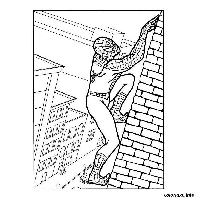 Coloriage spiderman grimpe le mur d 39 une maison dessin - Dessin a colorier spiderman moto ...