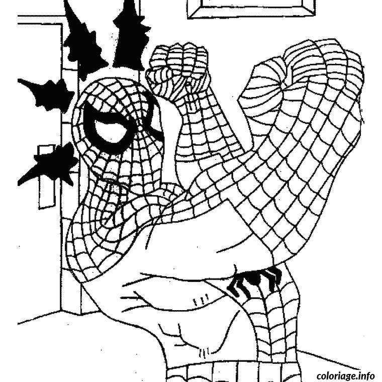 Coloriage spiderman fait un jab avec sa main droite - JeColorie.com