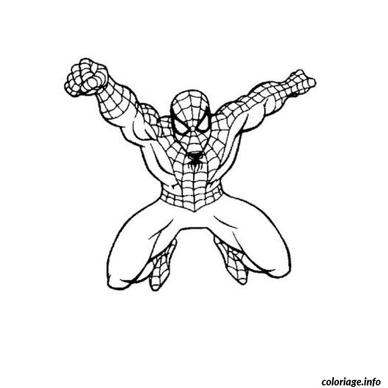 coloriage spiderman en plein vol dessin