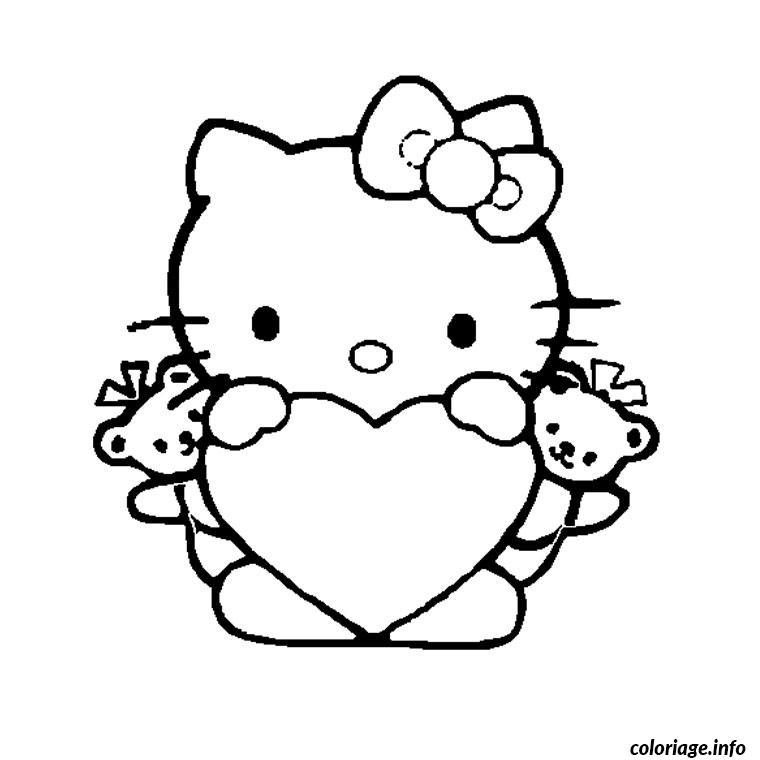 Coloriage Coeur Hello Kitty Dessin à Imprimer