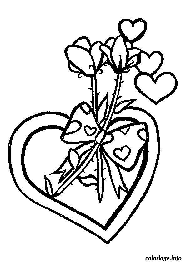 Dessin fleur coeur Coloriage Gratuit à Imprimer