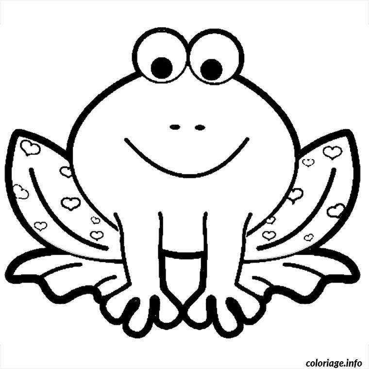 Dessin grenouille coeurs Coloriage Gratuit à Imprimer