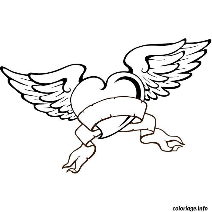coloriage tatouage coeur avec des ailes - jecolorie