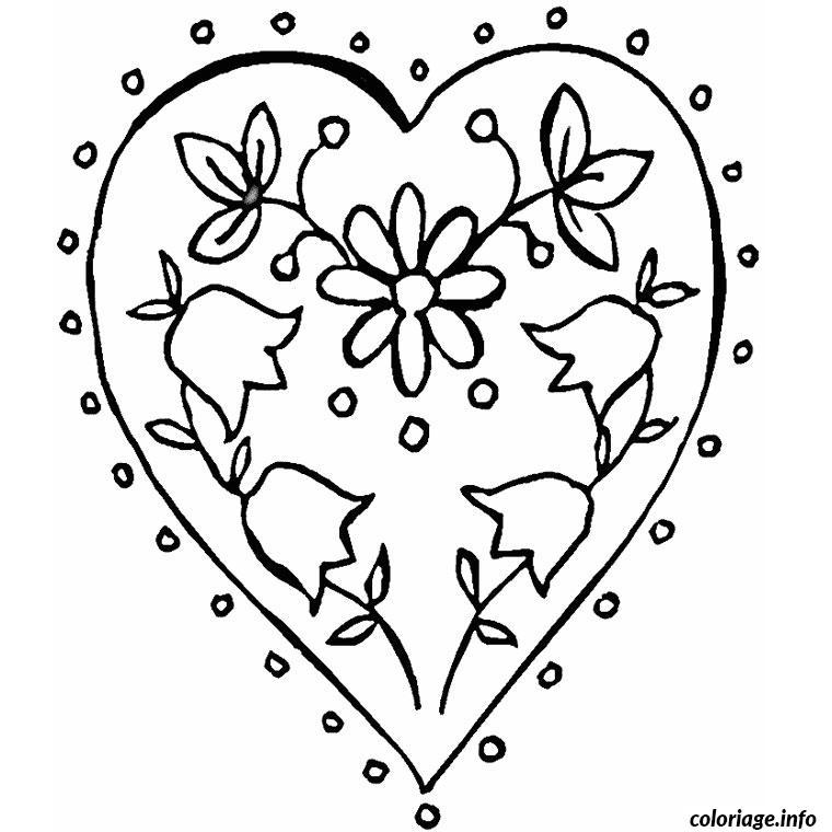 Coloriage Coeur Motif.Coloriage Coeur Et Fleur Jecolorie Com