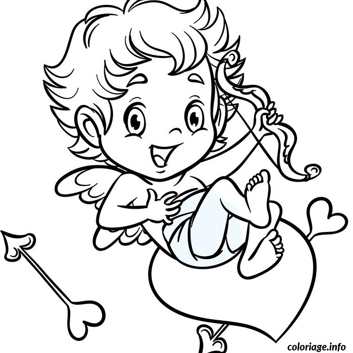 Coloriage cupidon sur un coeur dessin - Coeur de st valentin a imprimer ...