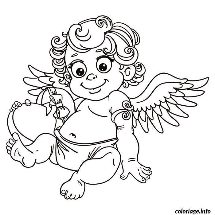 Dessin petit ange avec un coeur Coloriage Gratuit à Imprimer