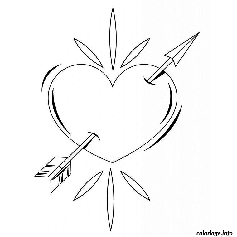 Coloriage Coeur Amour Gratuit.Coloriage Coeur D Amour Transperce Par Une Fleche Dessin