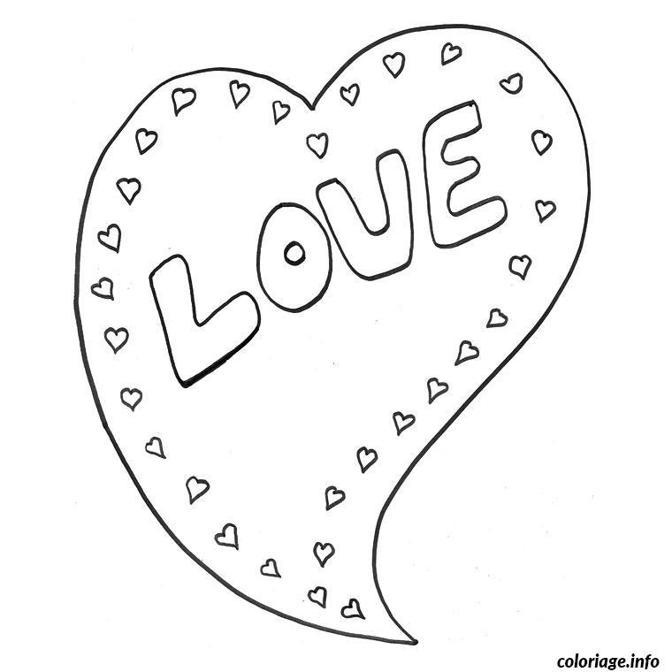 Coloriage coeur love dessin - Coeur en dessin ...