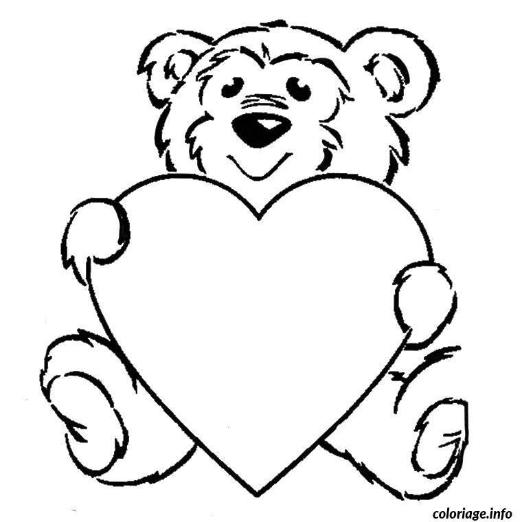 Dessin ours coeur Coloriage Gratuit à Imprimer
