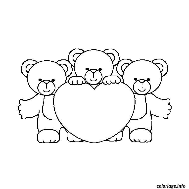 Dessin ourson avec coeur Coloriage Gratuit à Imprimer