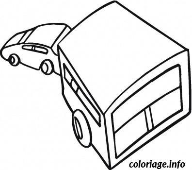 Dessin voiture remorque Coloriage Gratuit à Imprimer
