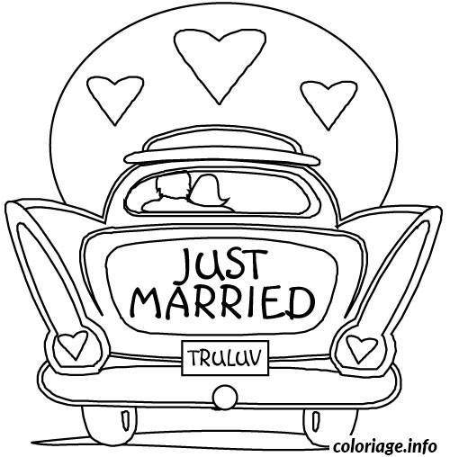 Coloriage dessin voiture mariage - Dessin voiture mariage ...