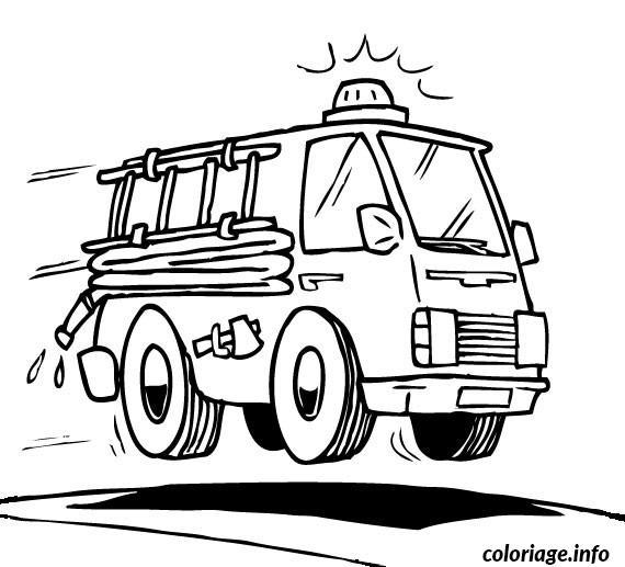 Coloriage voiture de pompier - Dessiner un camion de pompier ...