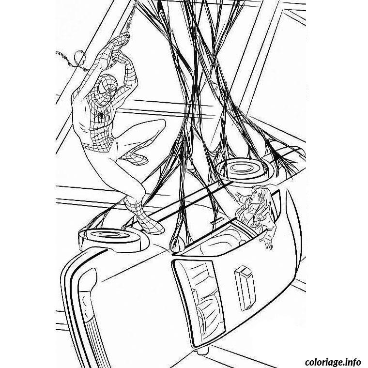 Coloriage spiderman capture une voiture dessin - Coloriage spiderman 1 ...