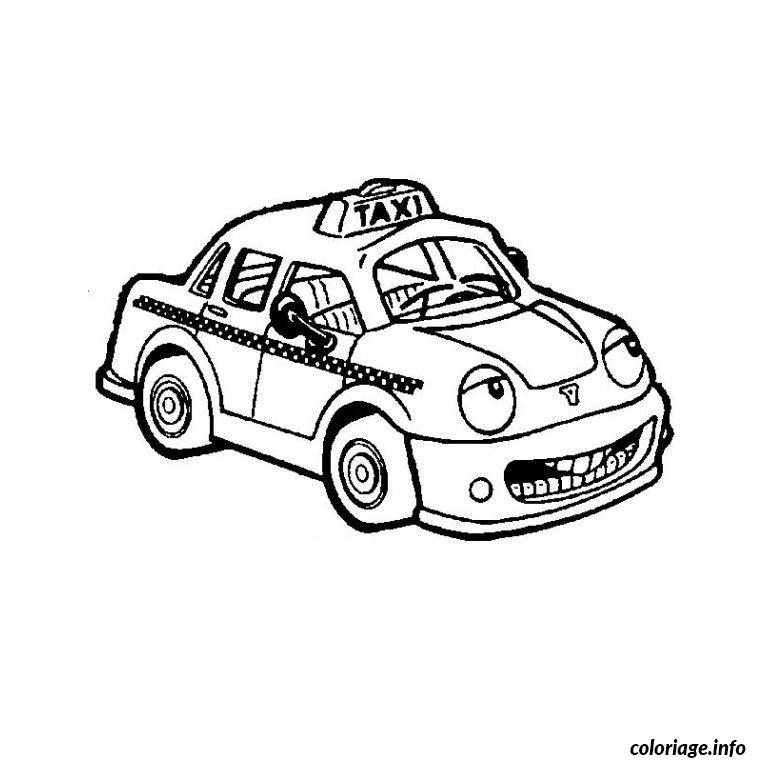 Dessin voiture taxi Coloriage Gratuit à Imprimer