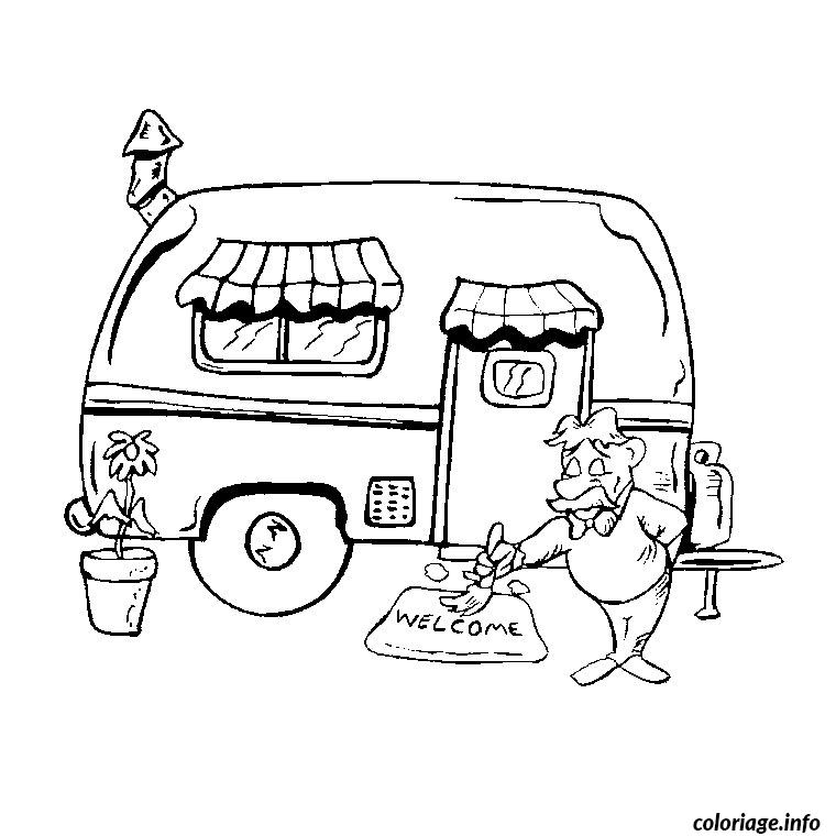 Coloriage voiture et caravane dessin - Dessin a colorier camping car gratuit ...