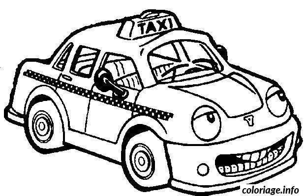 Dessin dessin voiture taxi Coloriage Gratuit à Imprimer