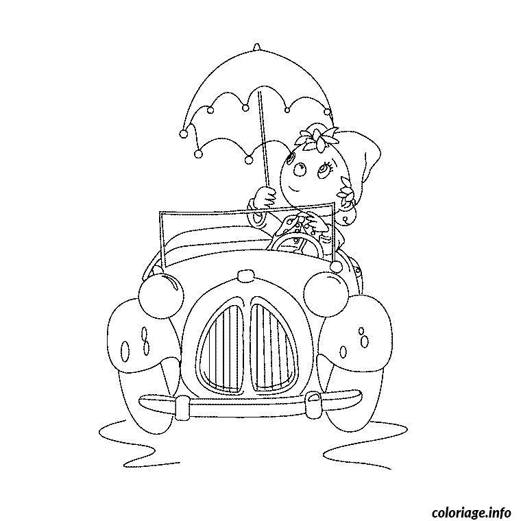 Coloriage oui oui dans sa voiture - Coloriage voiture gratuit ...