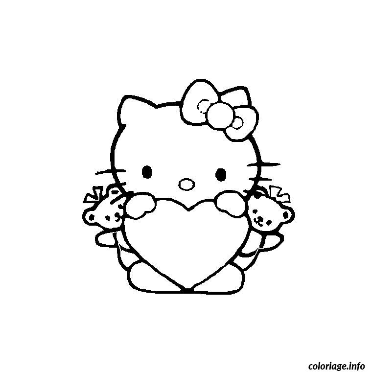 Coloriage hello kitty avec un coeur dessin - Coloriage hello kitty a colorier ...