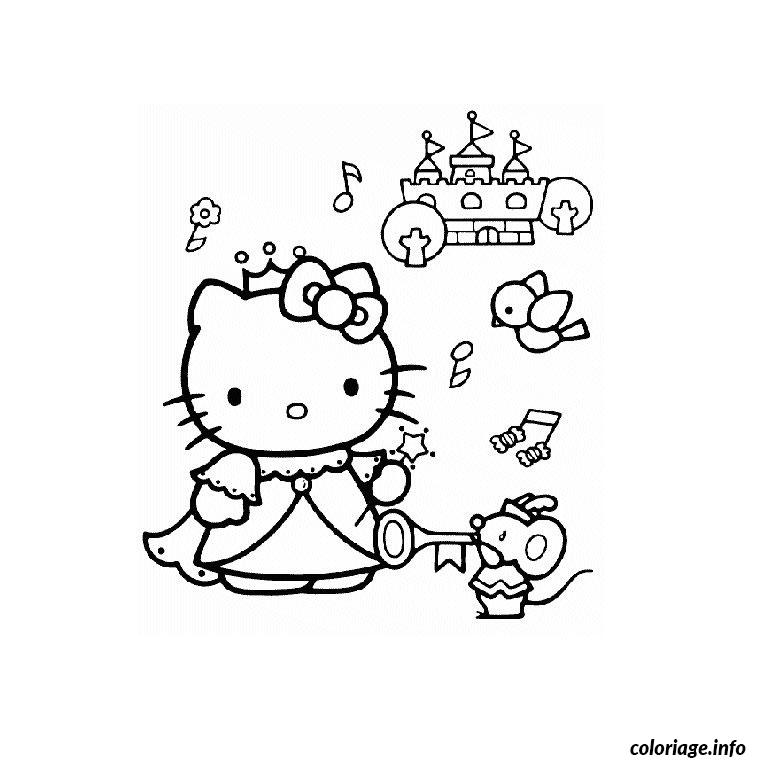 Coloriage hello kitty princesse dessin - Jeu de coloriage de princesse ...