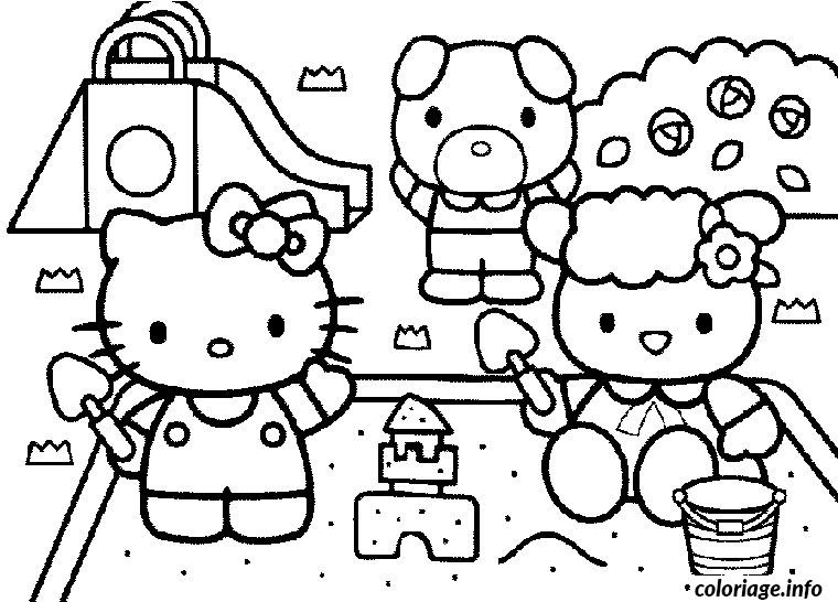 Dessin hello kitty ses amis hello kitty Coloriage Gratuit à Imprimer