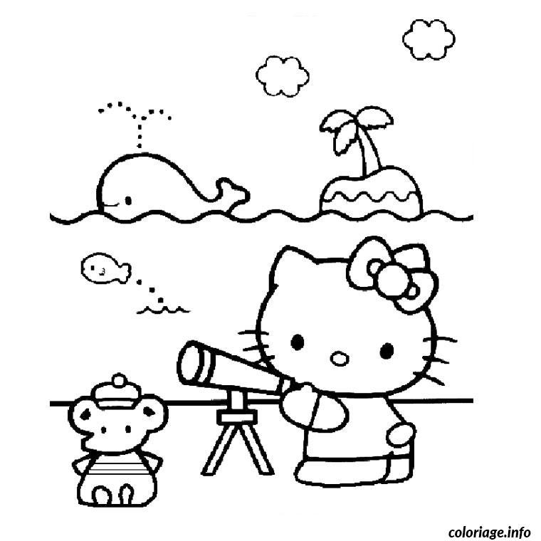 Dessin hello kitty a la plage Coloriage Gratuit à Imprimer