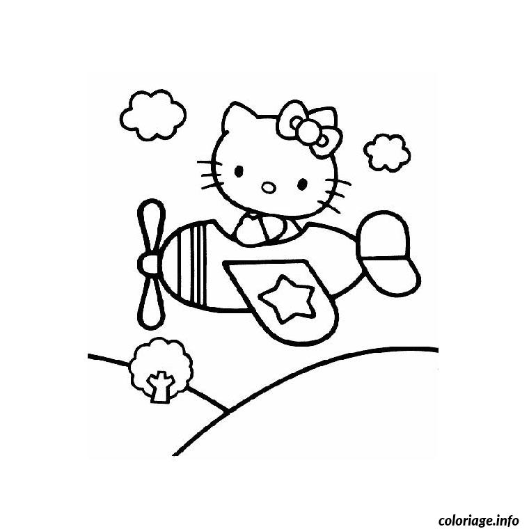 Coloriage Hello Kitty Avion Dessin