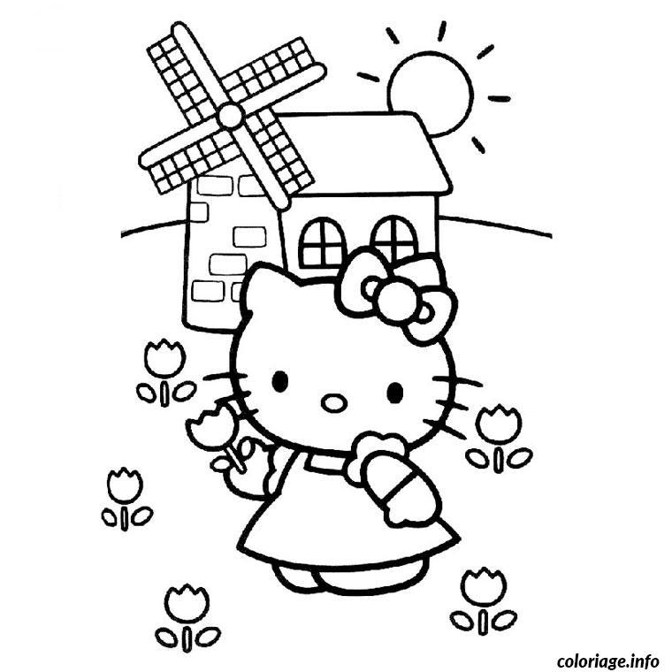 Dessin hello kitty en robe Coloriage Gratuit à Imprimer