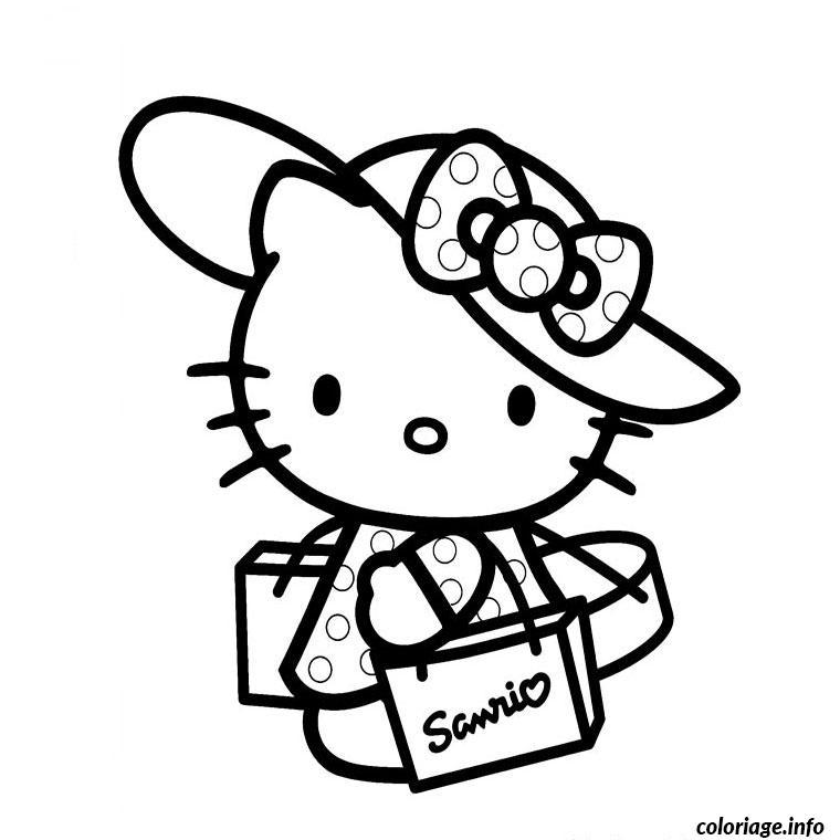 Coloriage Hello Kitty En Vacance Dessin Hello Kitty à imprimer