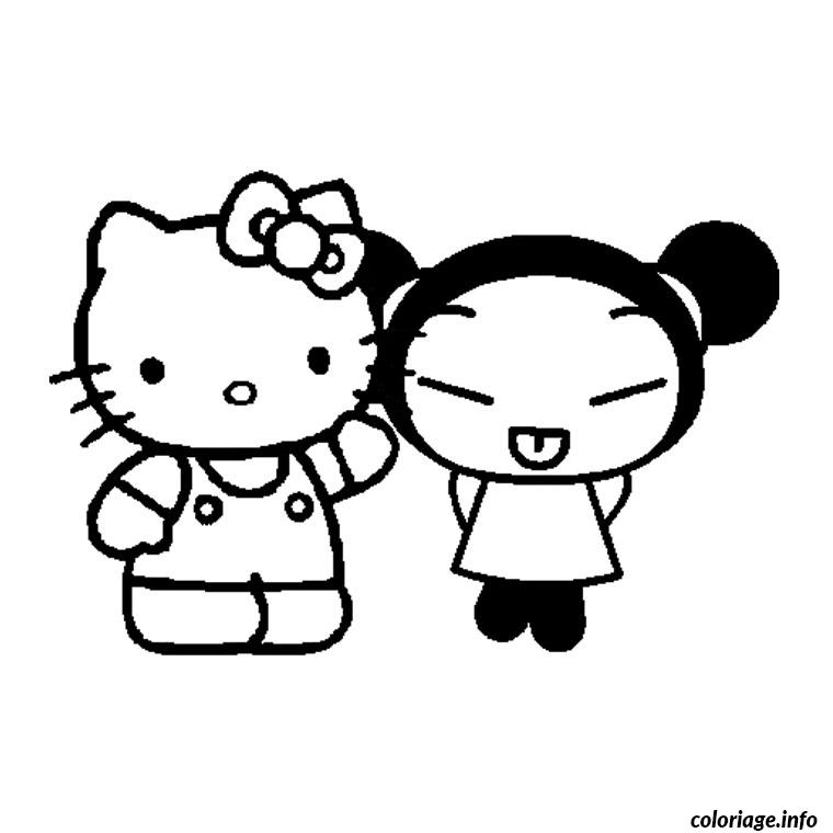 Dessin pucca et hello kitty Coloriage Gratuit à Imprimer