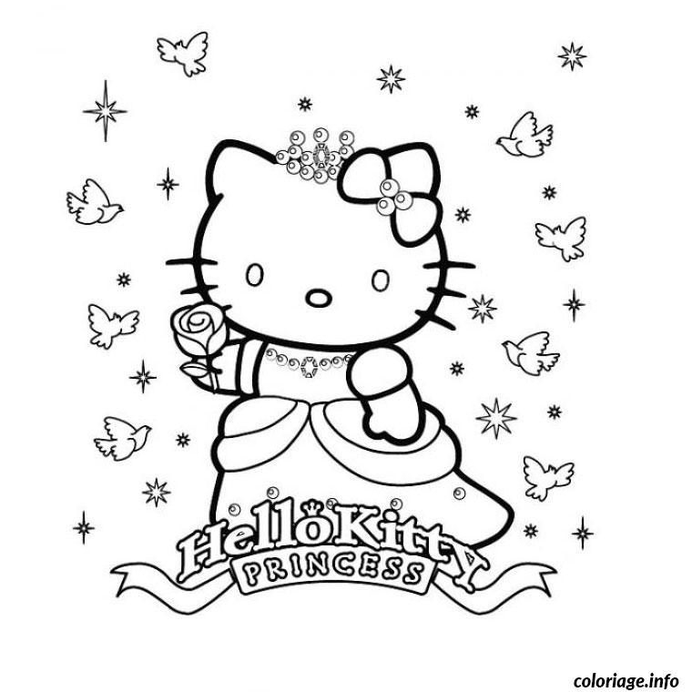 Dessin hello kitty en princesse Coloriage Gratuit à Imprimer