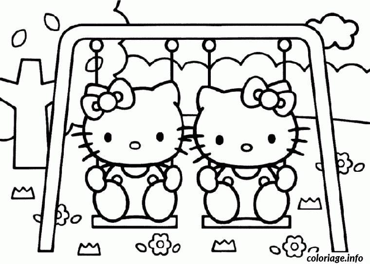Dessin hello kitty et mimi Coloriage Gratuit à Imprimer