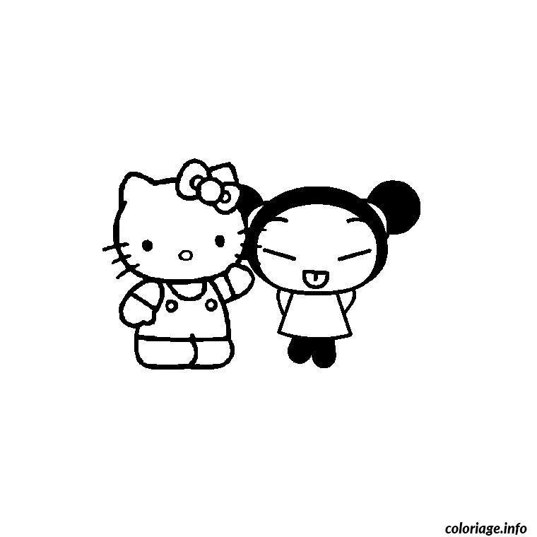 Dessin hello kitty et pucca Coloriage Gratuit à Imprimer
