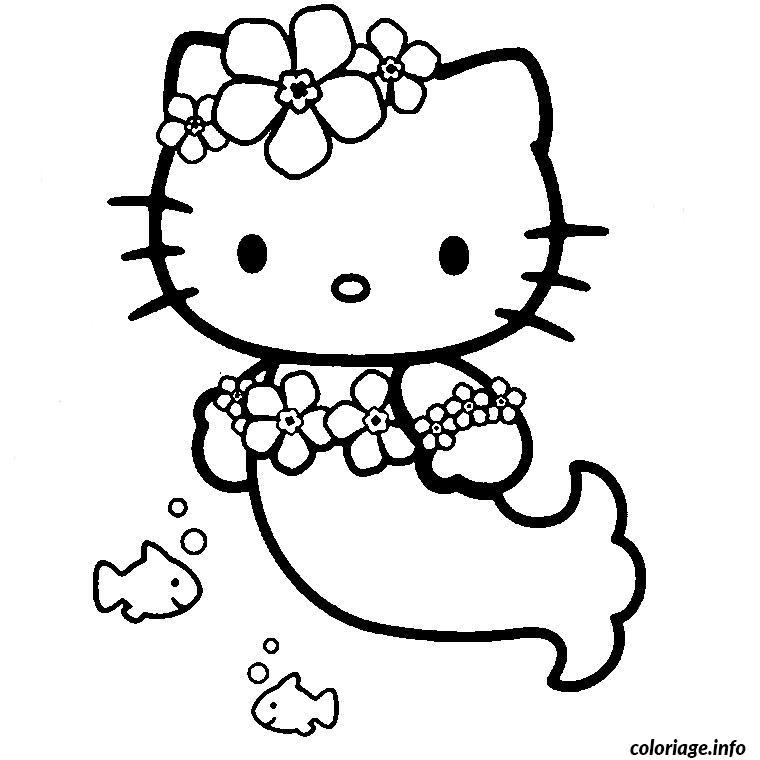Dessin hello kitty sirene Coloriage Gratuit à Imprimer