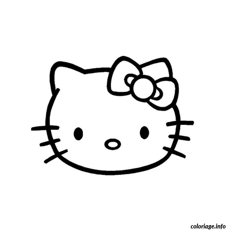 Dessin tete hello kitty Coloriage Gratuit à Imprimer