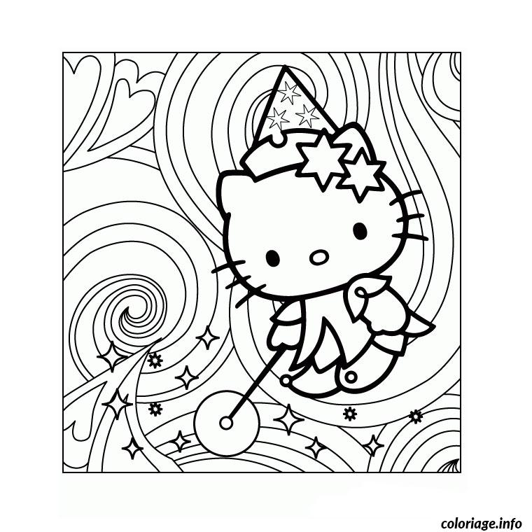 Dessin hello kitty magique Coloriage Gratuit à Imprimer