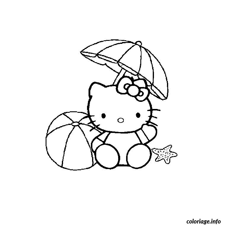 Coloriage hello kitty plage dessin - Dessin enfant plage ...