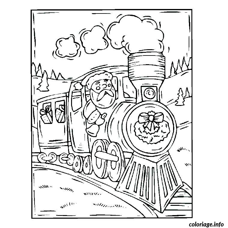 Coloriage Noel Train dessin