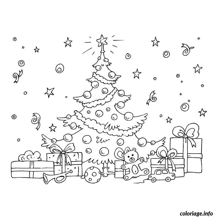 Coloriage arbre de noel et ses cadeaux dessin - Arbre de noel dessin ...