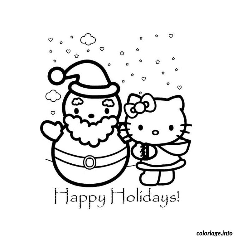 Coloriage de noel de hello kitty - Coloriage hello kitty a colorier ...