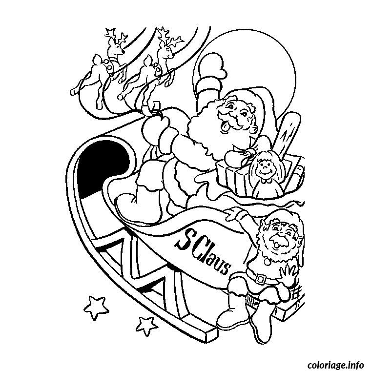 coloriage pere noel sur son traineau dessin. Black Bedroom Furniture Sets. Home Design Ideas