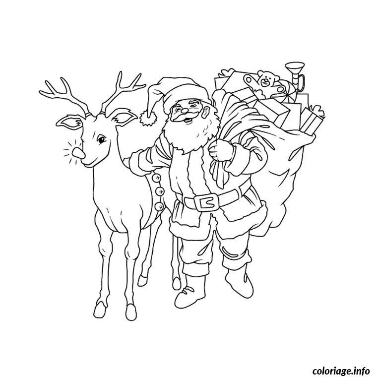 pere noel avec ses rennes coloriage dessin 1474